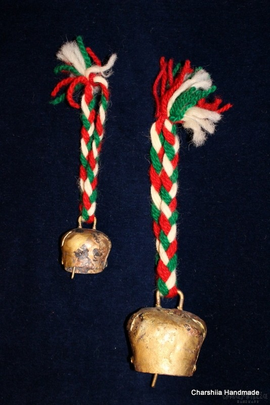 Hand made wallhanging with a bell - 3 pieces, set