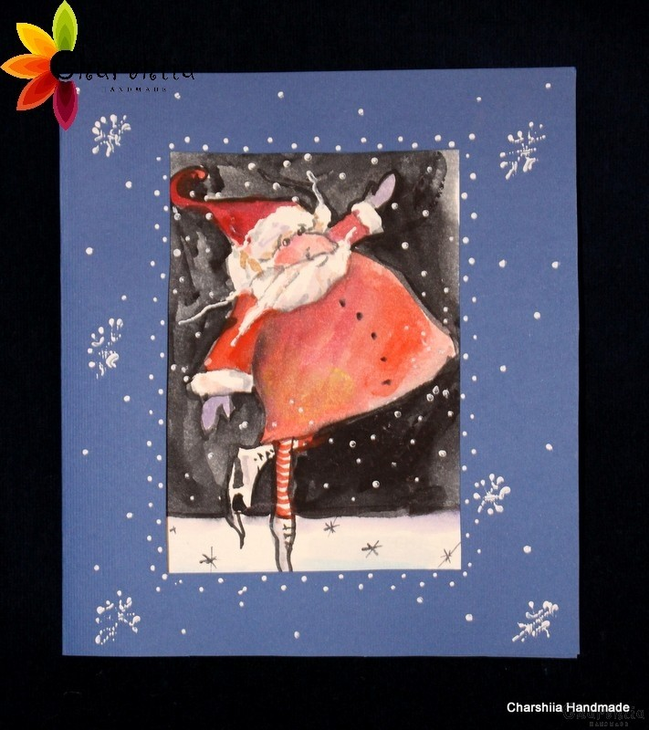 Painting/Greeting card - Aquarelle ''Christmas smiles""