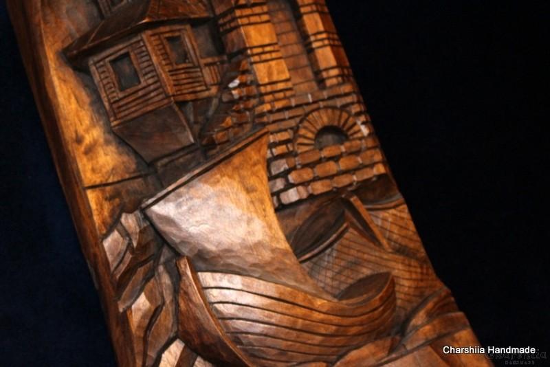"Woodcarving ""Seaside town"" 1"