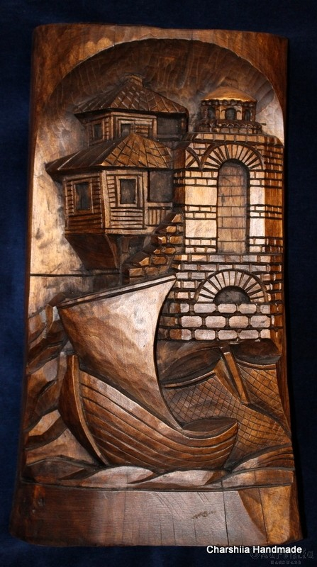 "Woodcarving ""Seaside town"" 1"