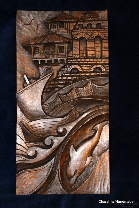 "Woodcarving ""Seaside town"" 2"