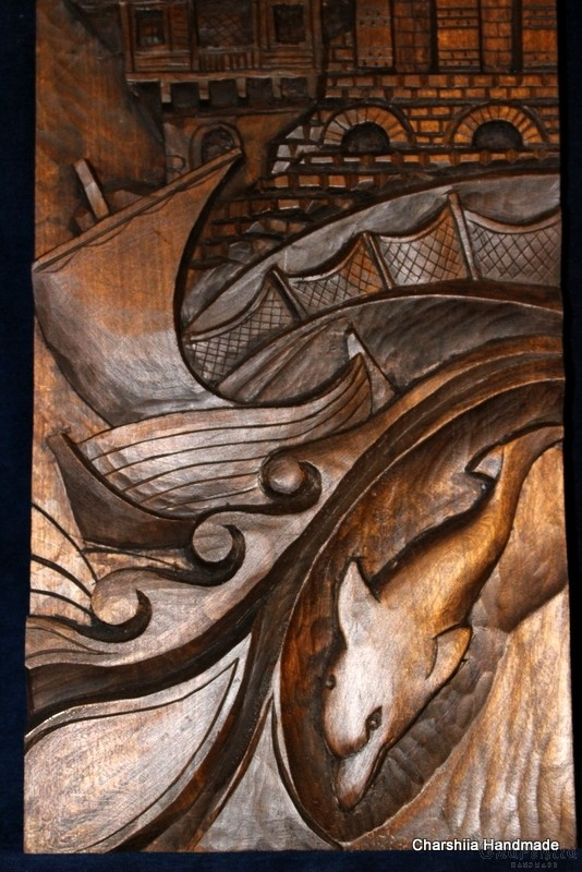 "Woodcarving ""Seaside town"" 2"