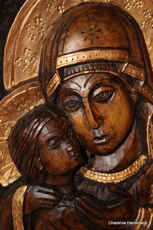 Woodcarving - Icon image of  Virgin of Tenderness - Eleusa