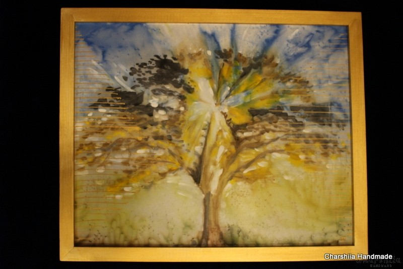 Batik Silk Painting ''Energy wood 7""