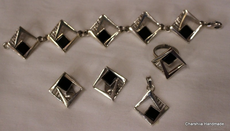 Silver set of four parts with Onyx