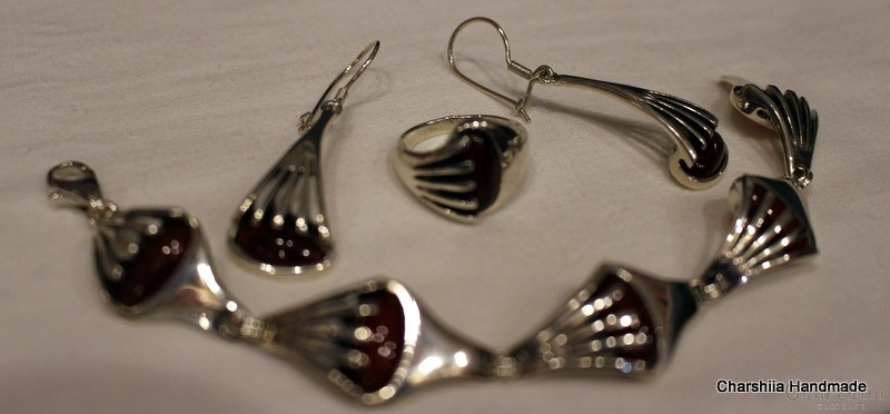 Silver set of three parts with Carnelian