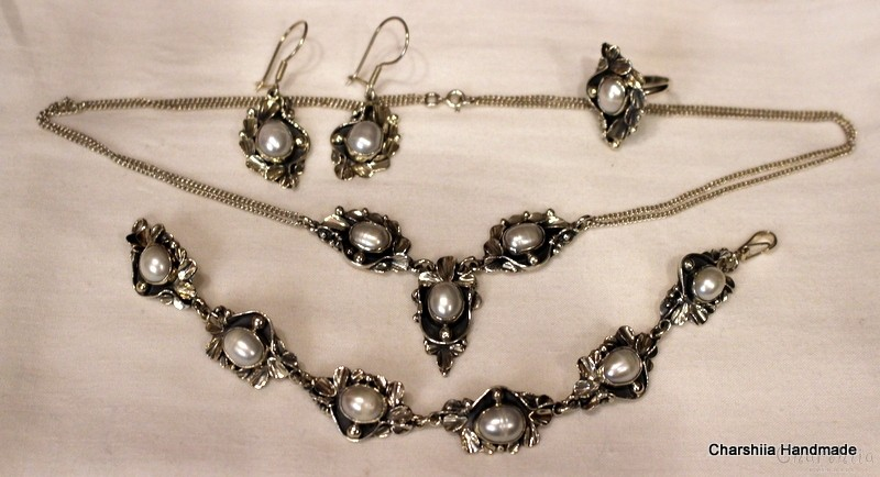 Silver set of five parts with Pearl
