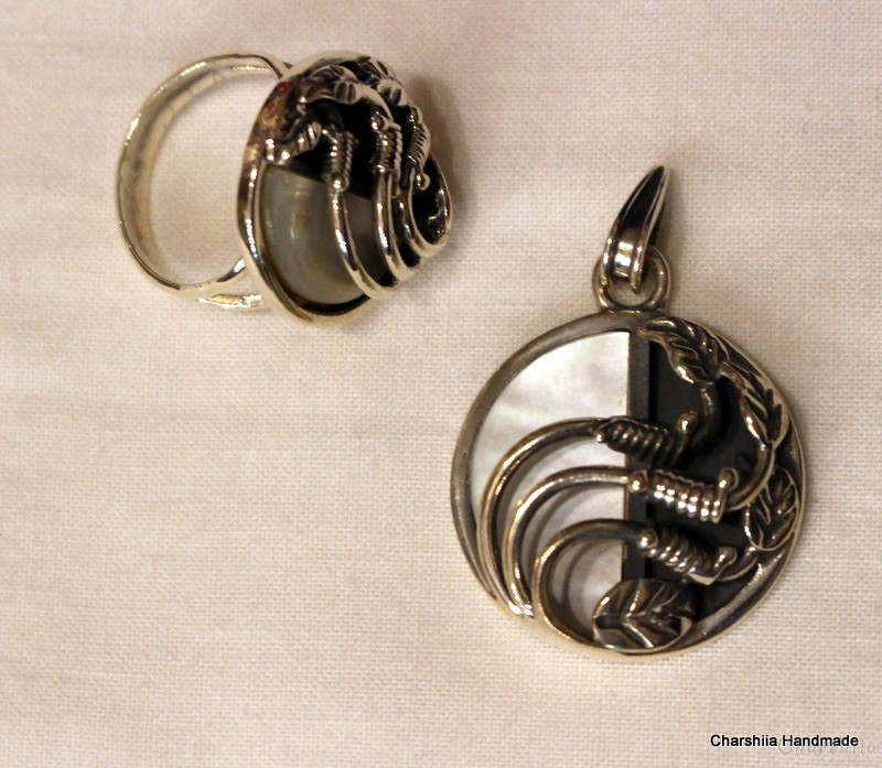 Silver set of two parts with Mother of pearl