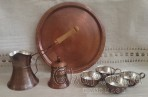 Coffee service /pot, sugar bowl, tray and 4 cups/