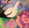 "Felt wall painting ""Stork spring"""